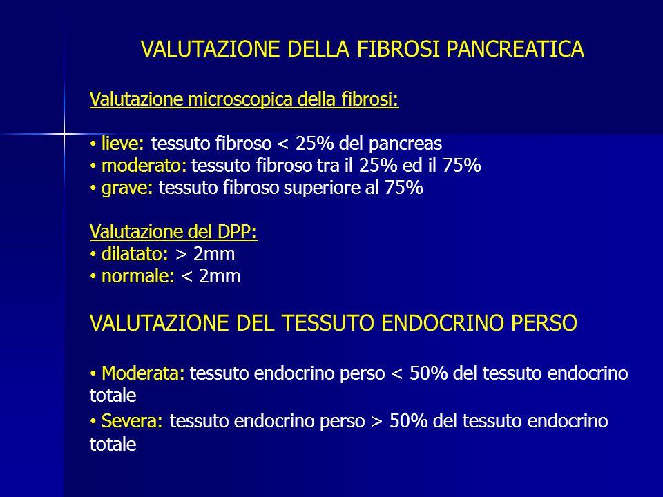 VALUTAZIONE DELLA FIBROSI PANCREATICA Valutazione microscopica della fibrosi: lieve: tessuto fibroso < 25% del pancreas moderato: tessuto fibroso tra il 25% ed il 75% grave: tessuto fibroso superiore al 75% Valutazione del DPP: dilatato: > 2mm normale: < 2mm VALUTAZIONE DEL TESSUTO ENDOCRINO PERSO Moderata: tessuto endocrino perso < 50% del tessuto endocrino totale Severa: tessuto endocrino perso > 50% del tessuto endocrino totale