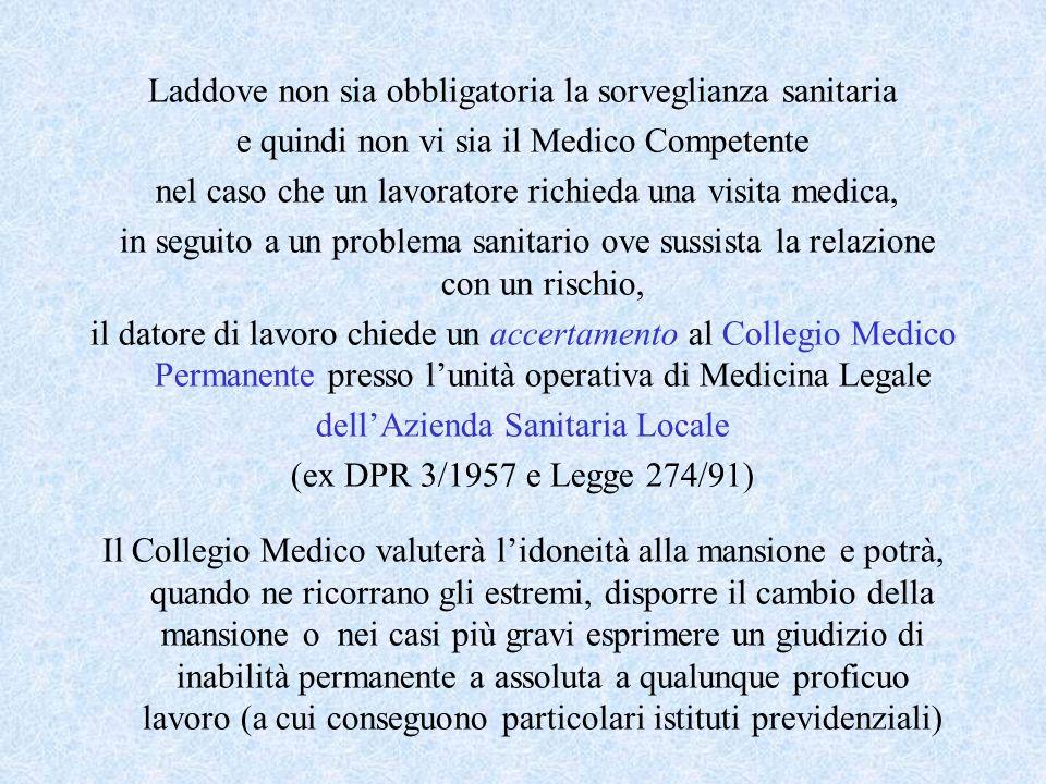 Laddove non sia obbligatoria la sorveglianza sanitaria e quindi non vi sia il Medico Competente nel caso che un lavoratore richieda una visita medica,
