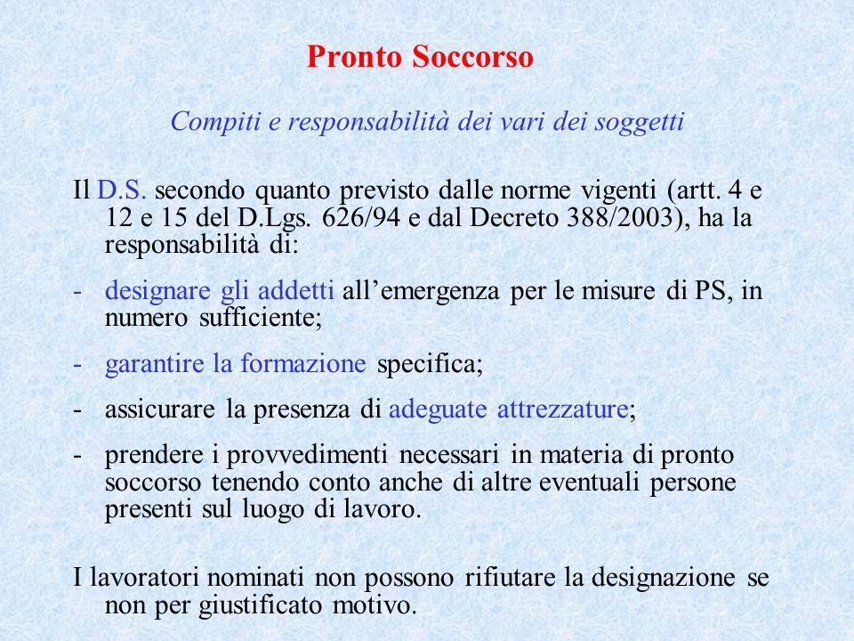 Pronto Soccorso Compiti e responsabilità dei vari dei soggetti Il D.S. secondo quanto previsto dalle norme vigenti (artt. 4 e 12 e 15 del D.Lgs. 626/9