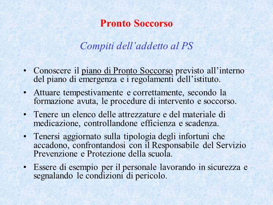 Pronto Soccorso Compiti dell'addetto al PS Conoscere il piano di Pronto Soccorso previsto all'interno del piano di emergenza e i regolamenti dell'isti