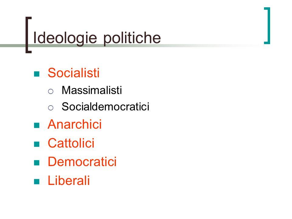 Ideologie politiche Socialisti  Massimalisti  Socialdemocratici Anarchici Cattolici Democratici Liberali