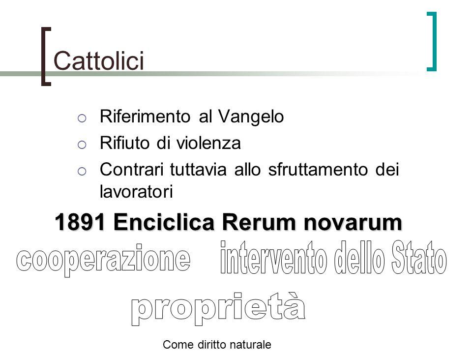 Cattolici  Riferimento al Vangelo  Rifiuto di violenza  Contrari tuttavia allo sfruttamento dei lavoratori 1891 Enciclica Rerum novarum Come diritt