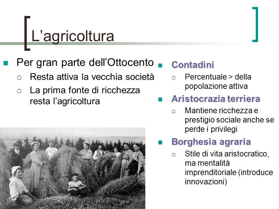 L'agricoltura Per gran parte dell'Ottocento  Resta attiva la vecchia società  La prima fonte di ricchezza resta l'agricoltura Contadini Contadini 
