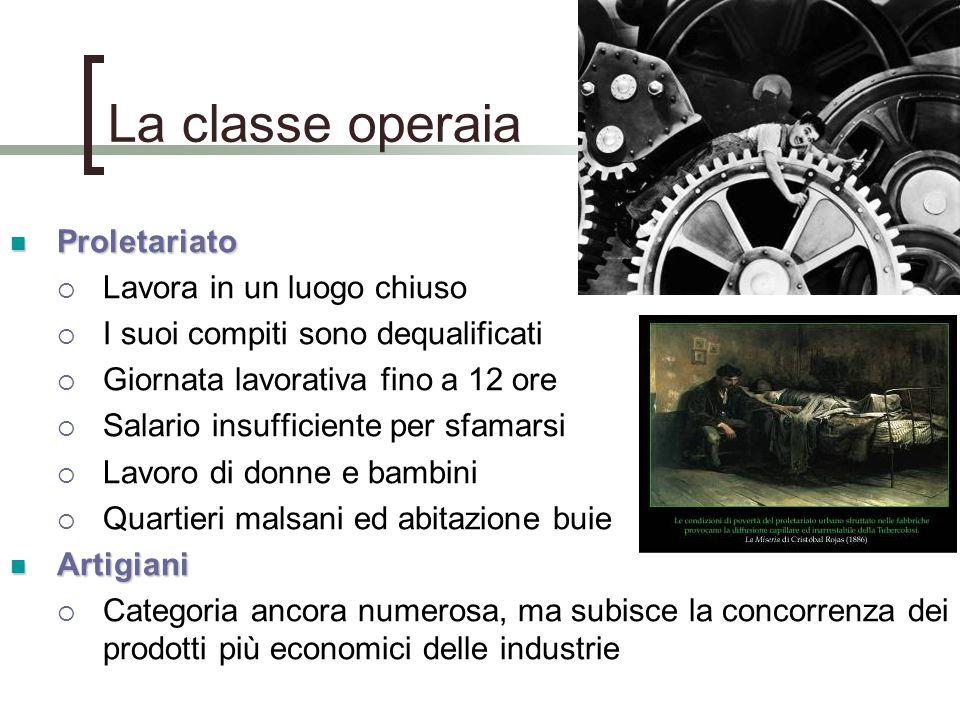 La classe operaia Proletariato Proletariato  Lavora in un luogo chiuso  I suoi compiti sono dequalificati  Giornata lavorativa fino a 12 ore  Sala