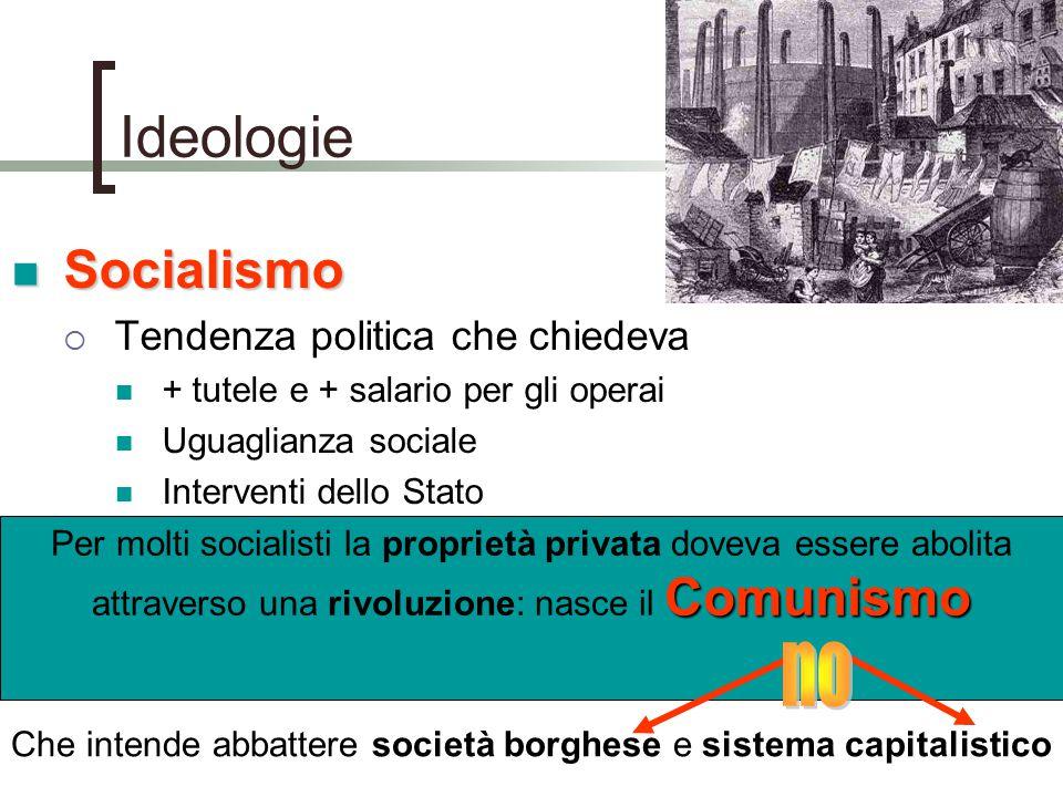 Ideologie Socialismo Socialismo  Tendenza politica che chiedeva + tutele e + salario per gli operai Uguaglianza sociale Interventi dello Stato Comuni