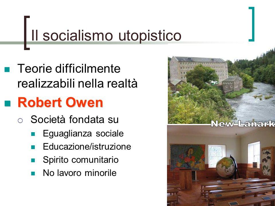 Il socialismo utopistico Teorie difficilmente realizzabili nella realtà Robert Owen Robert Owen  Società fondata su Eguaglianza sociale Educazione/is