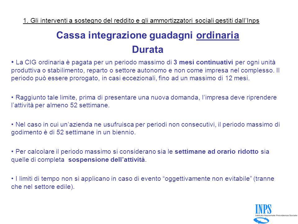 Cassa integrazione guadagni ordinaria Durata La CIG ordinaria è pagata per un periodo massimo di 3 mesi continuativi per ogni unità produttiva o stabilimento, reparto o settore autonomo e non come impresa nel complesso.