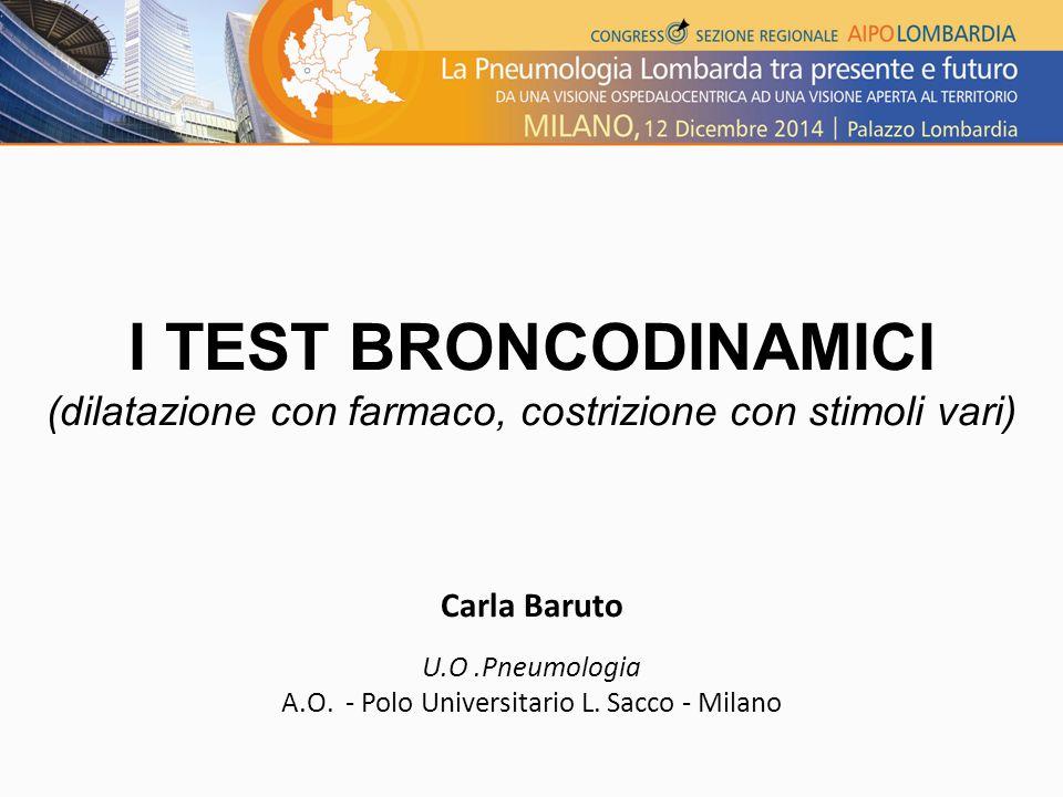 I TEST BRONCODINAMICI (dilatazione con farmaco, costrizione con stimoli vari) Carla Baruto U.O.Pneumologia A.O.