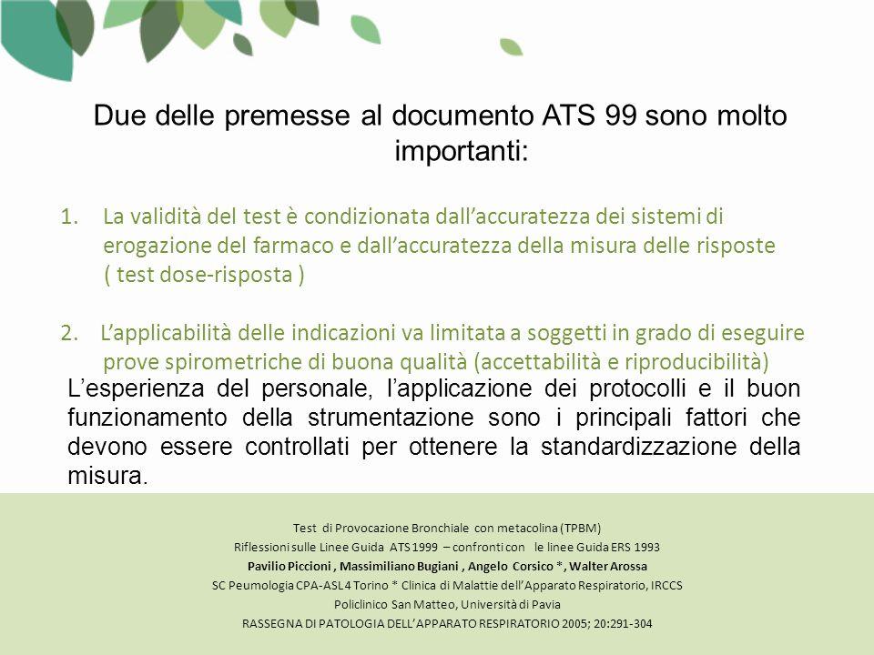 Due delle premesse al documento ATS 99 sono molto importanti: 1.La validità del test è condizionata dall'accuratezza dei sistemi di erogazione del farmaco e dall'accuratezza della misura delle risposte ( test dose-risposta ) 2.