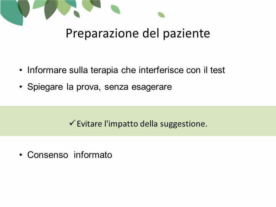 Informare sulla terapia che interferisce con il test Spiegare la prova, senza esagerare Evitare l impatto della suggestione.