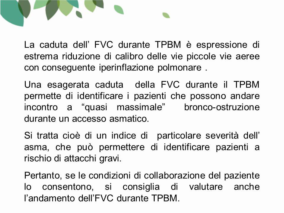 La caduta dell' FVC durante TPBM è espressione di estrema riduzione di calibro delle vie piccole vie aeree con conseguente iperinflazione polmonare.