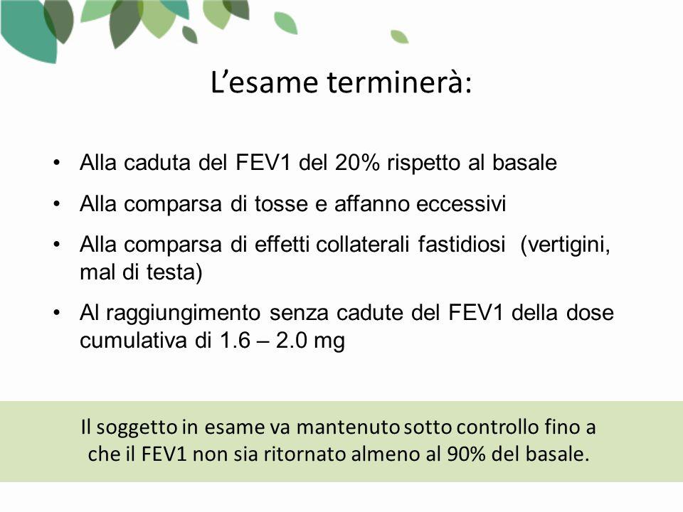 Alla caduta del FEV1 del 20% rispetto al basale Alla comparsa di tosse e affanno eccessivi Alla comparsa di effetti collaterali fastidiosi (vertigini, mal di testa) Al raggiungimento senza cadute del FEV1 della dose cumulativa di 1.6 – 2.0 mg Il soggetto in esame va mantenuto sotto controllo fino a che il FEV1 non sia ritornato almeno al 90% del basale.