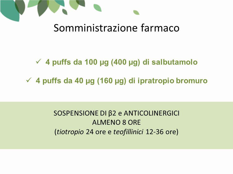 Somministrazione farmaco SOSPENSIONE DI β2 e ANTICOLINERGICI ALMENO 8 ORE (tiotropio 24 ore e teofillinici 12-36 ore) 4 puffs da 100 µg (400 µg) di salbutamolo 4 puffs da 40 µg (160 µg) di ipratropio bromuro