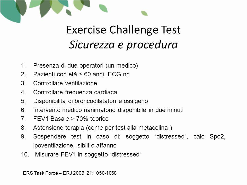 Exercise Challenge Test Sicurezza e procedura 1.Presenza di due operatori (un medico) 2.