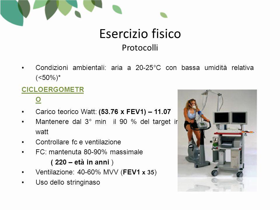 Condizioni ambientali: aria a 20-25°C con bassa umidità relativa (<50%)* Carico teorico Watt: (53.76 x FEV1) – 11.07 Mantenere dal 3° min il 90 % del target in watt Controllare fc e ventilazione FC: mantenuta 80-90% massimale ( 220 – età in anni ) Ventilazione: 40-60% MVV (FEV1 x 35 ) Uso dello stringinaso CICLOERGOMETR O Esercizio fisico Protocolli