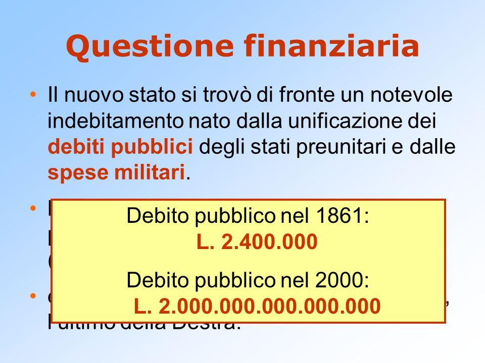 Questione finanziaria Il nuovo stato si trovò di fronte un notevole indebitamento nato dalla unificazione dei debiti pubblici degli stati preunitari e