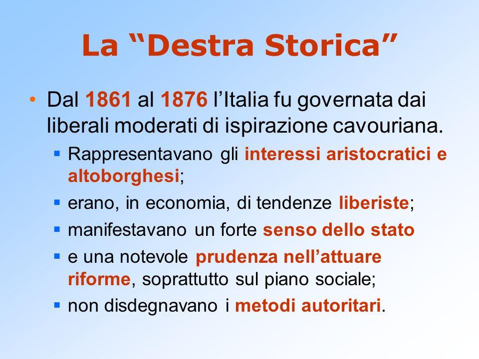 """La """"Destra Storica"""" Dal 1861 al 1876 l'Italia fu governata dai liberali moderati di ispirazione cavouriana.  Rappresentavano gli interessi aristocrat"""