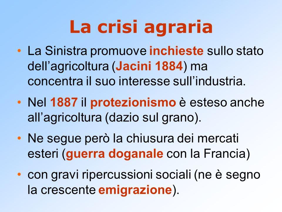 La crisi agraria La Sinistra promuove inchieste sullo stato dell'agricoltura (Jacini 1884) ma concentra il suo interesse sull'industria. Nel 1887 il p