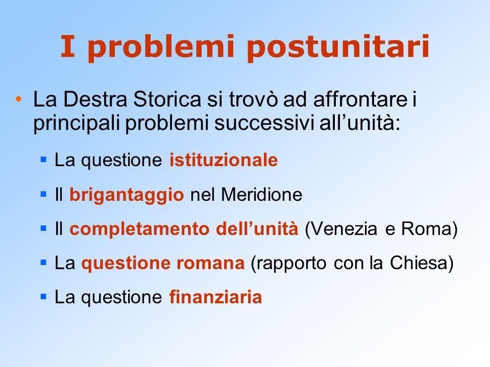 I problemi postunitari La Destra Storica si trovò ad affrontare i principali problemi successivi all'unità:  La questione istituzionale  Il briganta