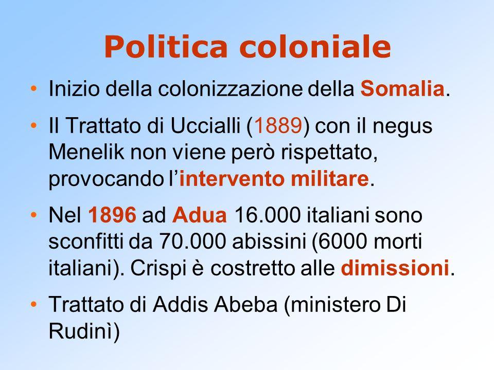 Politica coloniale Inizio della colonizzazione della Somalia. Il Trattato di Uccialli (1889) con il negus Menelik non viene però rispettato, provocand