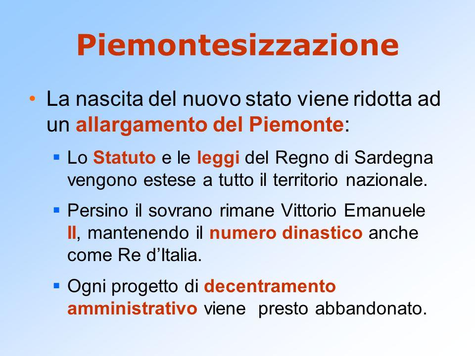 Piemontesizzazione La nascita del nuovo stato viene ridotta ad un allargamento del Piemonte:  Lo Statuto e le leggi del Regno di Sardegna vengono est