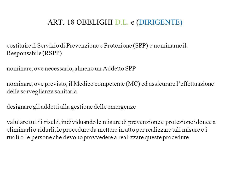 ART. 18 OBBLIGHI D.L. e (DIRIGENTE) costituire il Servizio di Prevenzione e Protezione (SPP) e nominarne il Responsabile (RSPP) nominare, ove necessar