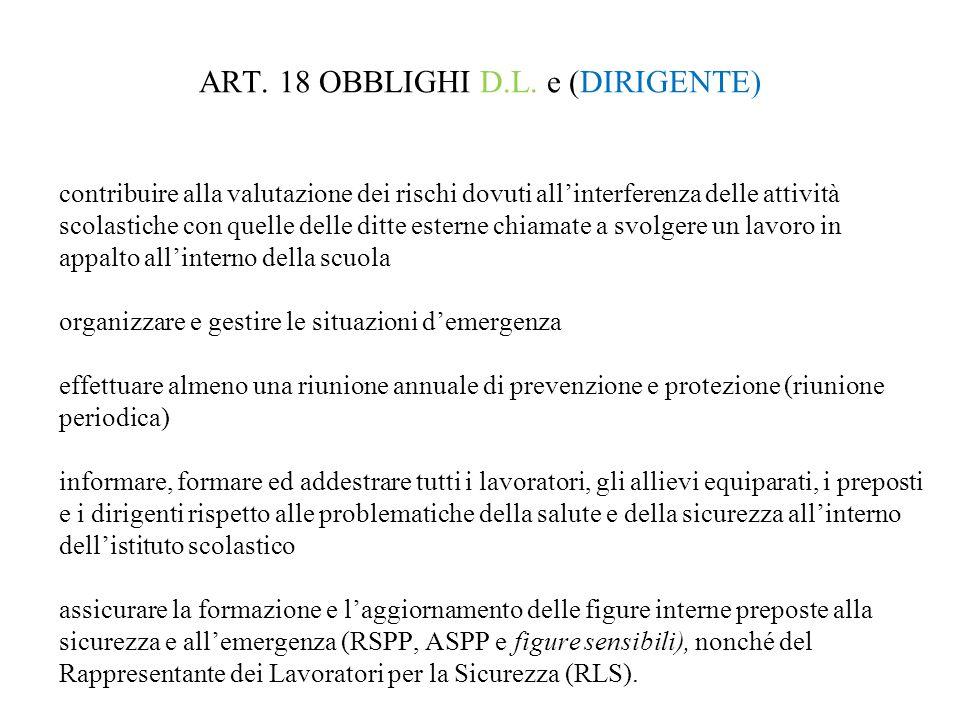 ART. 18 OBBLIGHI D.L. e (DIRIGENTE) contribuire alla valutazione dei rischi dovuti all'interferenza delle attività scolastiche con quelle delle ditte