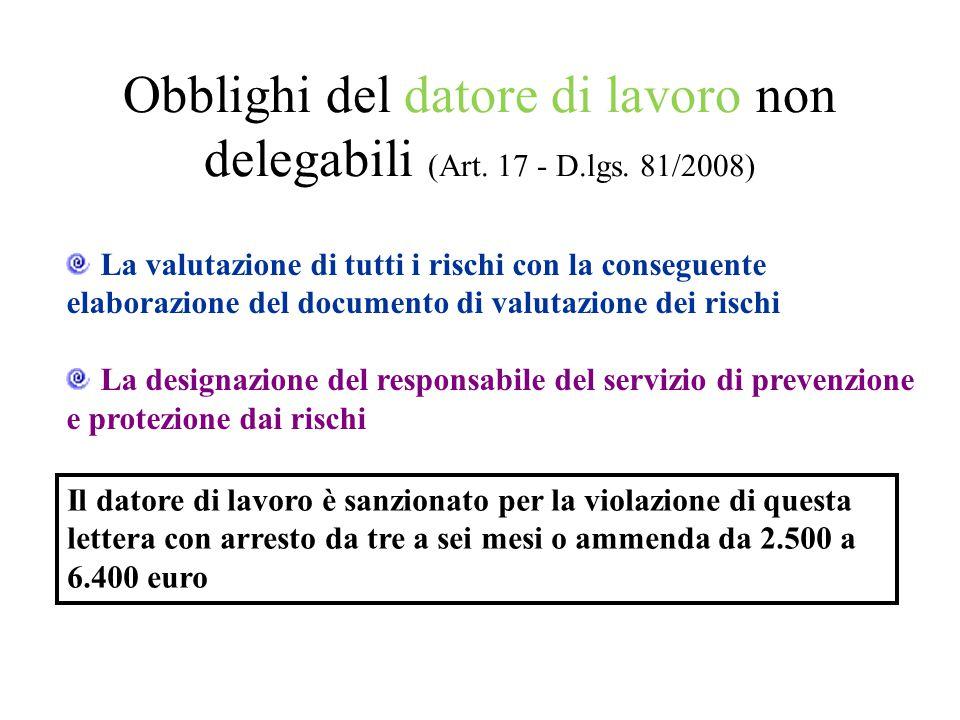 Obblighi del datore di lavoro non delegabili (Art. 17 - D.lgs. 81/2008) La valutazione di tutti i rischi con la conseguente elaborazione del documento