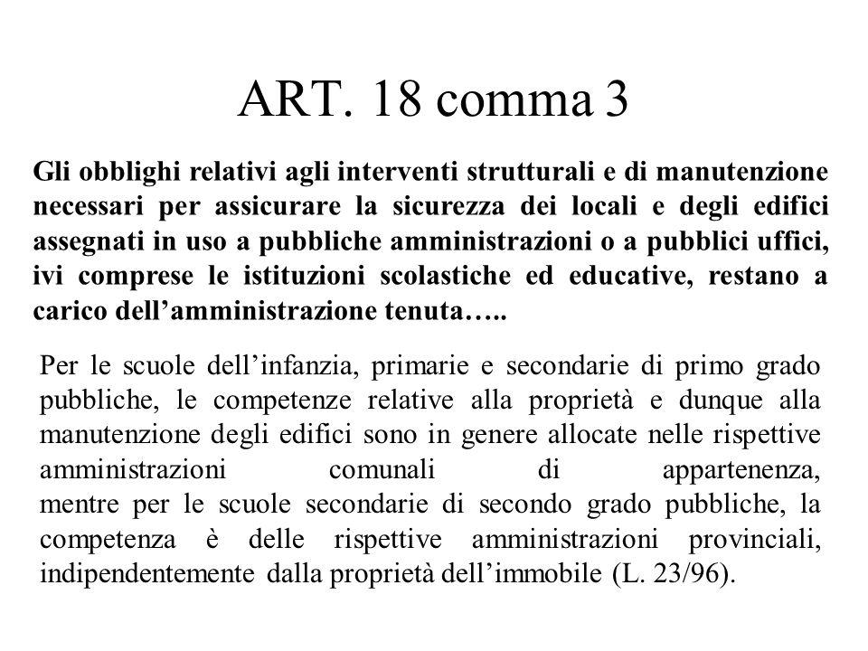 ART. 18 comma 3 Per le scuole dell'infanzia, primarie e secondarie di primo grado pubbliche, le competenze relative alla proprietà e dunque alla manut