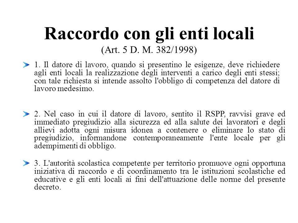 Raccordo con gli enti locali (Art. 5 D. M. 382/1998) 1. Il datore di lavoro, quando si presentino le esigenze, deve richiedere agli enti locali la rea
