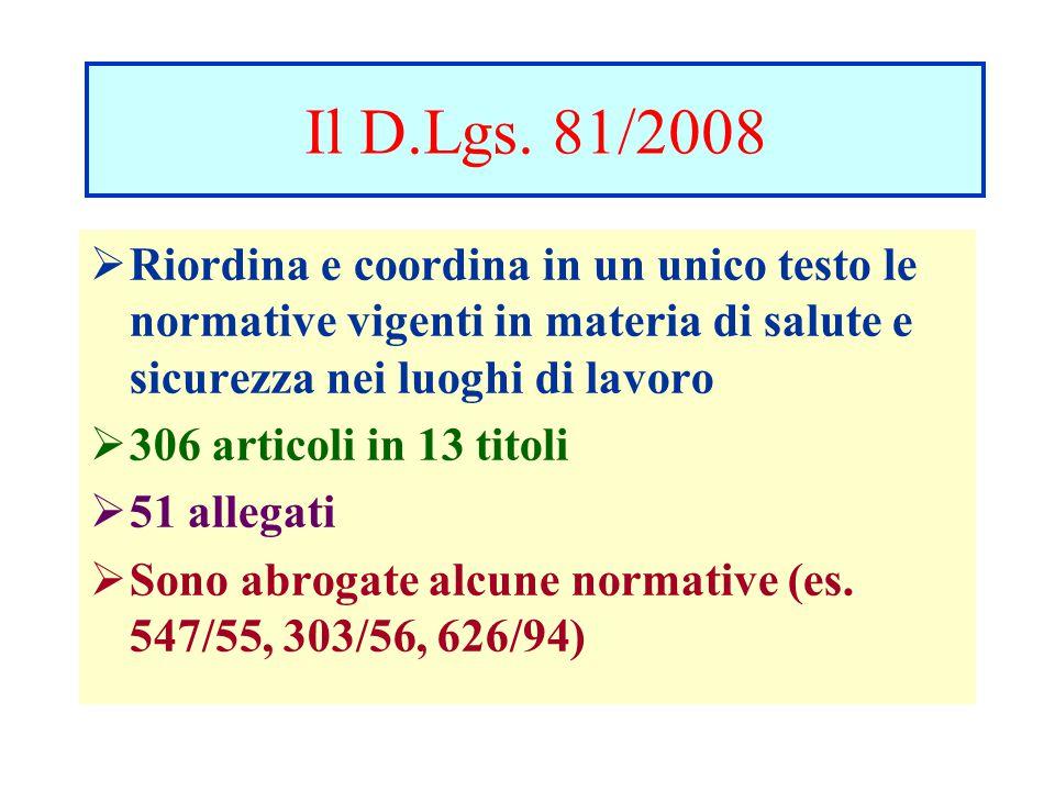 Il D.Lgs. 81/2008  Riordina e coordina in un unico testo le normative vigenti in materia di salute e sicurezza nei luoghi di lavoro  306 articoli in
