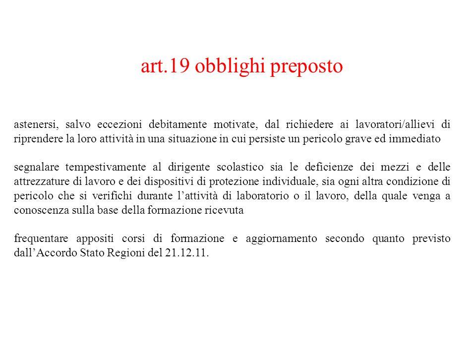 art.19 obblighi preposto astenersi, salvo eccezioni debitamente motivate, dal richiedere ai lavoratori/allievi di riprendere la loro attività in una s