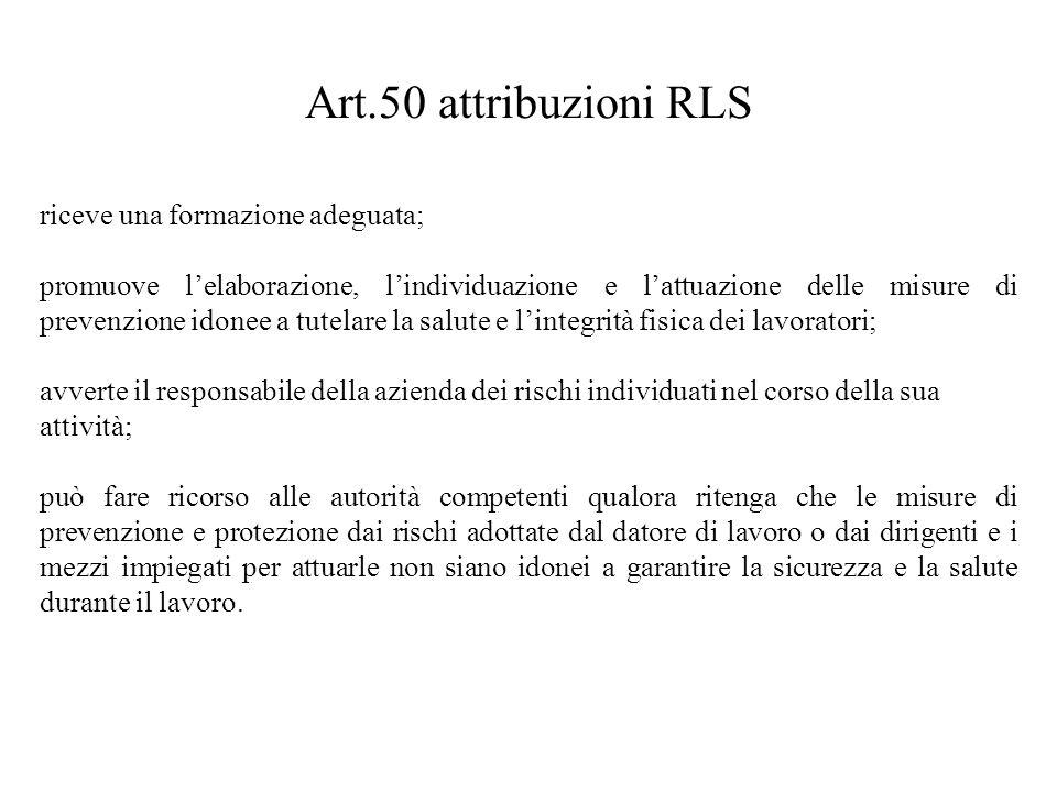 Art.50 attribuzioni RLS riceve una formazione adeguata; promuove l'elaborazione, l'individuazione e l'attuazione delle misure di prevenzione idonee a