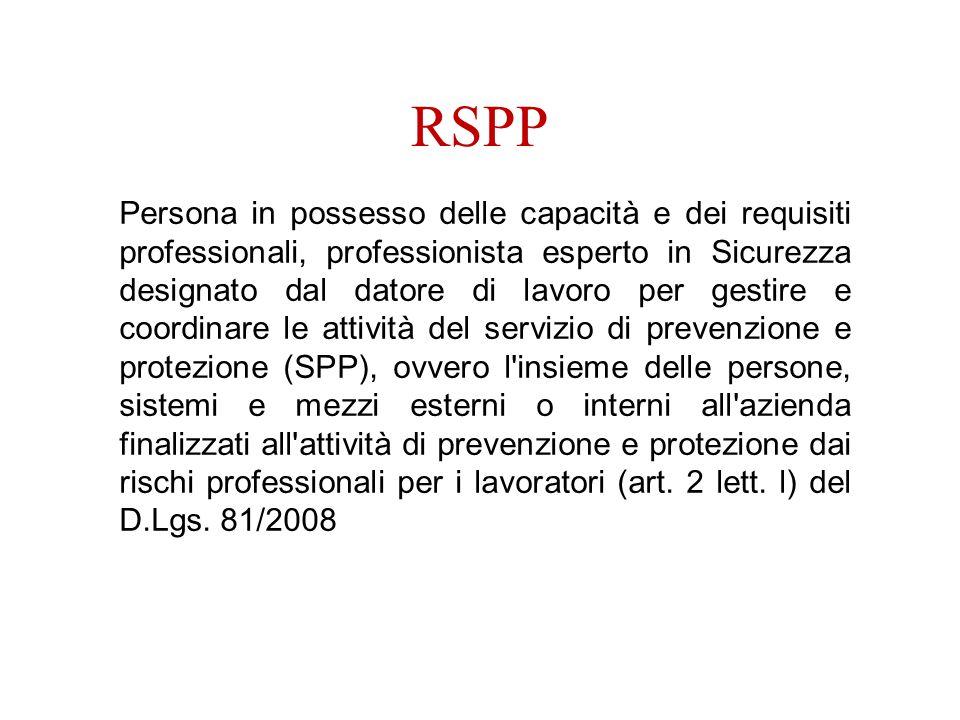 RSPP Persona in possesso delle capacità e dei requisiti professionali, professionista esperto in Sicurezza designato dal datore di lavoro per gestire