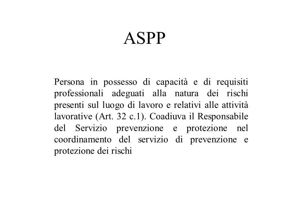 ASPP Persona in possesso di capacità e di requisiti professionali adeguati alla natura dei rischi presenti sul luogo di lavoro e relativi alle attivit