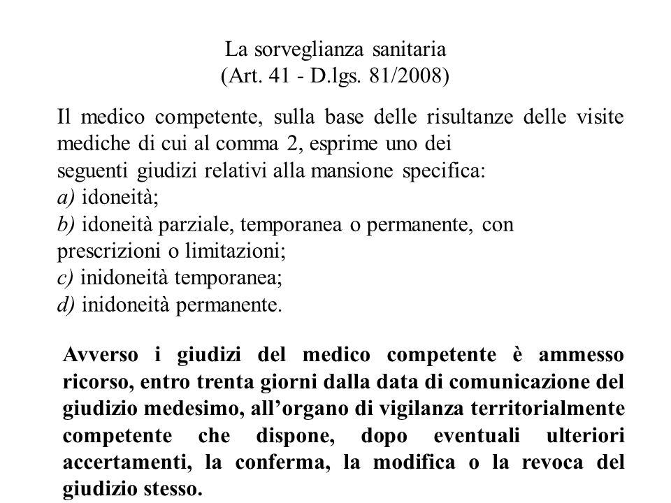 La sorveglianza sanitaria (Art. 41 - D.lgs. 81/2008) Il medico competente, sulla base delle risultanze delle visite mediche di cui al comma 2, esprime