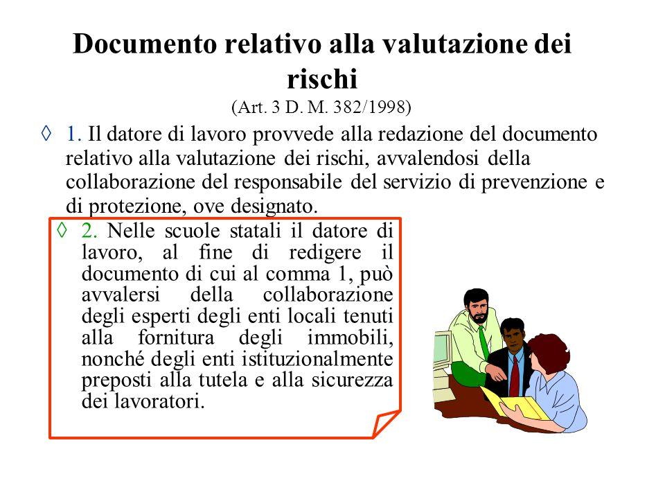 Documento relativo alla valutazione dei rischi (Art. 3 D. M. 382/1998) ◊ 1. Il datore di lavoro provvede alla redazione del documento relativo alla va