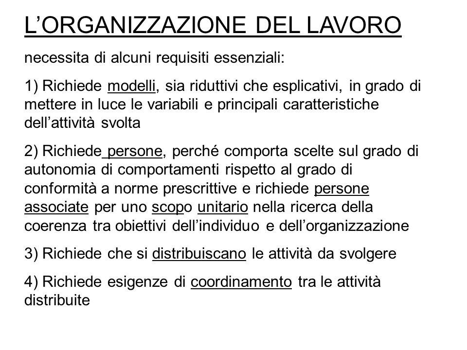 L'ORGANIZZAZIONE DEL LAVORO necessita di alcuni requisiti essenziali: 1) Richiede modelli, sia riduttivi che esplicativi, in grado di mettere in luce