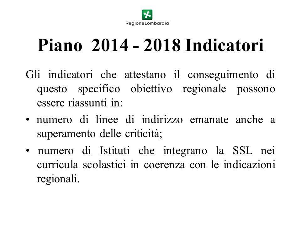 Piano 2014 - 2018 Indicatori Gli indicatori che attestano il conseguimento di questo specifico obiettivo regionale possono essere riassunti in: numero