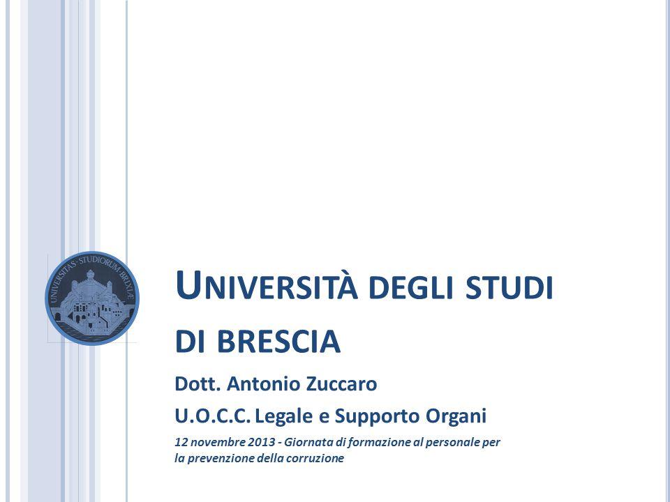 U NIVERSITÀ DEGLI STUDI DI BRESCIA Dott. Antonio Zuccaro U.O.C.C. Legale e Supporto Organi 12 novembre 2013 - Giornata di formazione al personale per