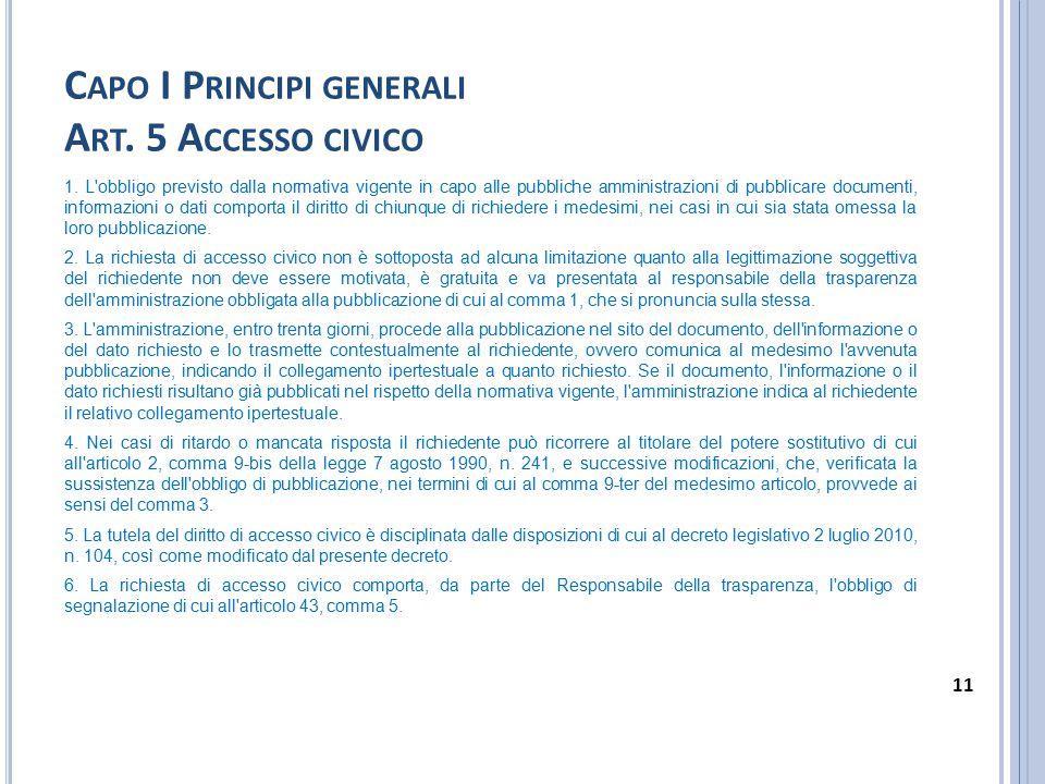 C APO I P RINCIPI GENERALI A RT. 5 A CCESSO CIVICO 1. L'obbligo previsto dalla normativa vigente in capo alle pubbliche amministrazioni di pubblicare