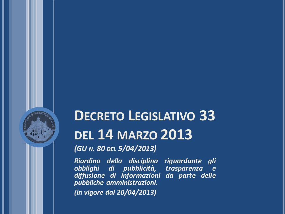 D ECRETO L EGISLATIVO 33 DEL 14 MARZO 2013 (GU N. 80 DEL 5/04/2013) Riordino della disciplina riguardante gli obblighi di pubblicità, trasparenza e di