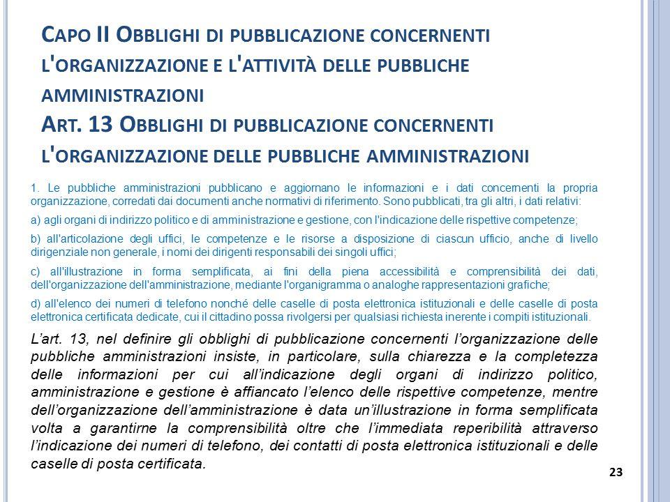 C APO II O BBLIGHI DI PUBBLICAZIONE CONCERNENTI L ' ORGANIZZAZIONE E L ' ATTIVITÀ DELLE PUBBLICHE AMMINISTRAZIONI A RT. 13 O BBLIGHI DI PUBBLICAZIONE