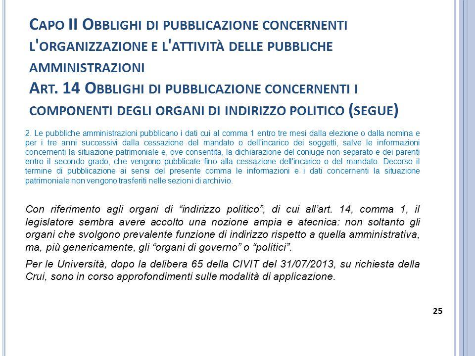 C APO II O BBLIGHI DI PUBBLICAZIONE CONCERNENTI L ' ORGANIZZAZIONE E L ' ATTIVITÀ DELLE PUBBLICHE AMMINISTRAZIONI A RT. 14 O BBLIGHI DI PUBBLICAZIONE