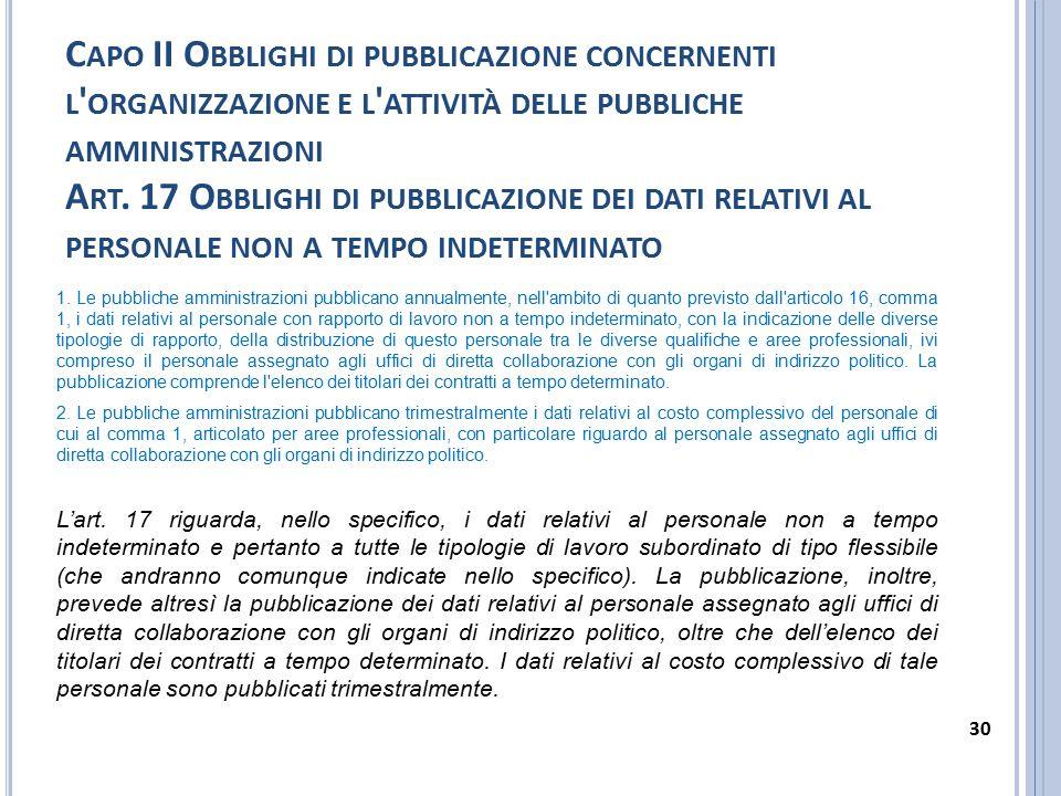 C APO II O BBLIGHI DI PUBBLICAZIONE CONCERNENTI L ' ORGANIZZAZIONE E L ' ATTIVITÀ DELLE PUBBLICHE AMMINISTRAZIONI A RT. 17 O BBLIGHI DI PUBBLICAZIONE