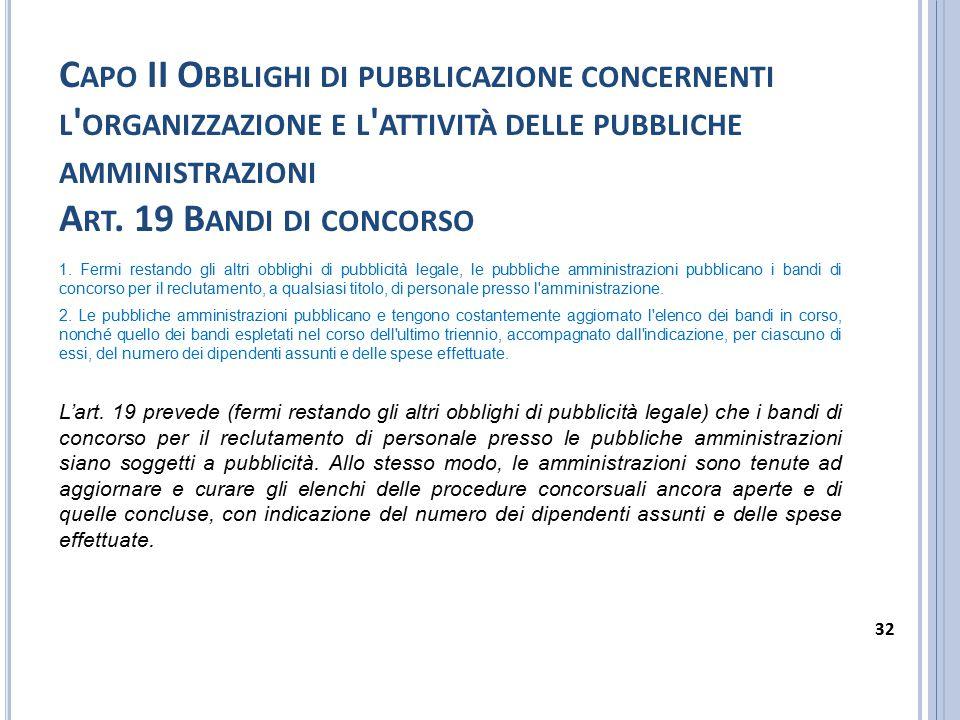 C APO II O BBLIGHI DI PUBBLICAZIONE CONCERNENTI L ' ORGANIZZAZIONE E L ' ATTIVITÀ DELLE PUBBLICHE AMMINISTRAZIONI A RT. 19 B ANDI DI CONCORSO 1. Fermi