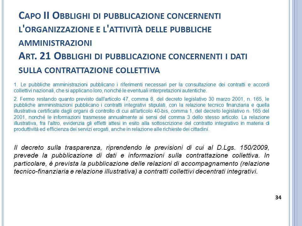 C APO II O BBLIGHI DI PUBBLICAZIONE CONCERNENTI L ' ORGANIZZAZIONE E L ' ATTIVITÀ DELLE PUBBLICHE AMMINISTRAZIONI A RT. 21 O BBLIGHI DI PUBBLICAZIONE