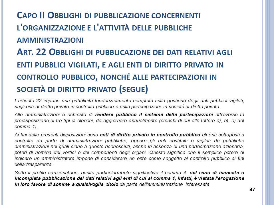C APO II O BBLIGHI DI PUBBLICAZIONE CONCERNENTI L ' ORGANIZZAZIONE E L ' ATTIVITÀ DELLE PUBBLICHE AMMINISTRAZIONI A RT. 22 O BBLIGHI DI PUBBLICAZIONE