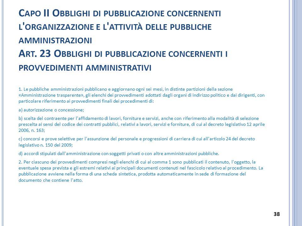 C APO II O BBLIGHI DI PUBBLICAZIONE CONCERNENTI L ' ORGANIZZAZIONE E L ' ATTIVITÀ DELLE PUBBLICHE AMMINISTRAZIONI A RT. 23 O BBLIGHI DI PUBBLICAZIONE
