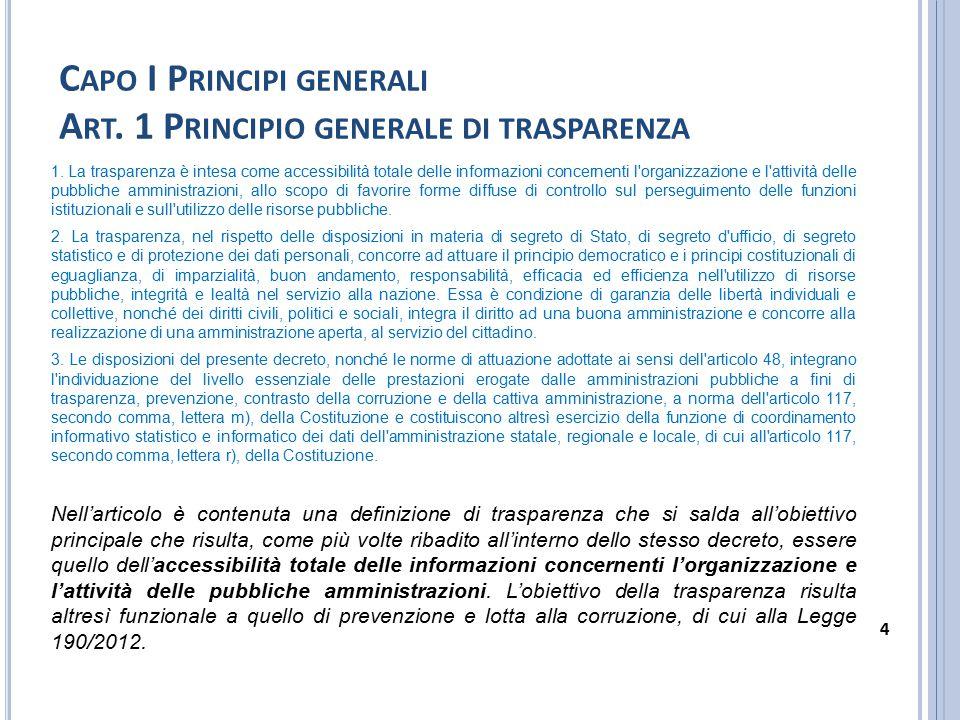 C APO I P RINCIPI GENERALI A RT.2 O GGETTO 1.